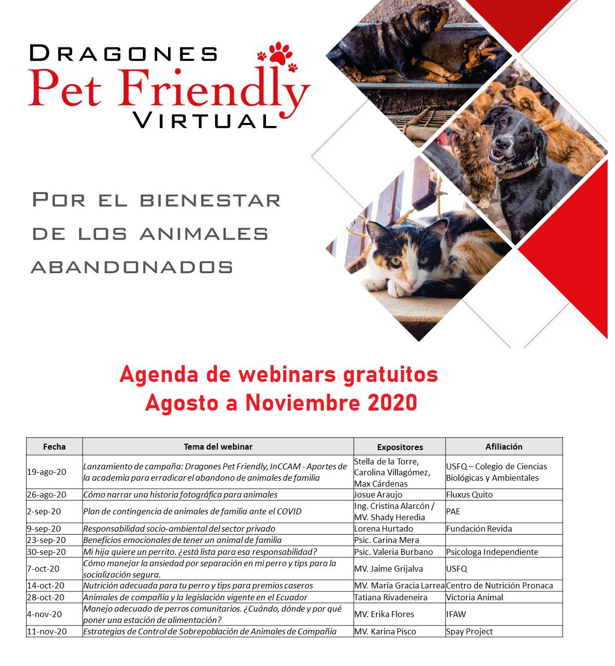 Agenda de webinars Agosto – Noviembre 2020