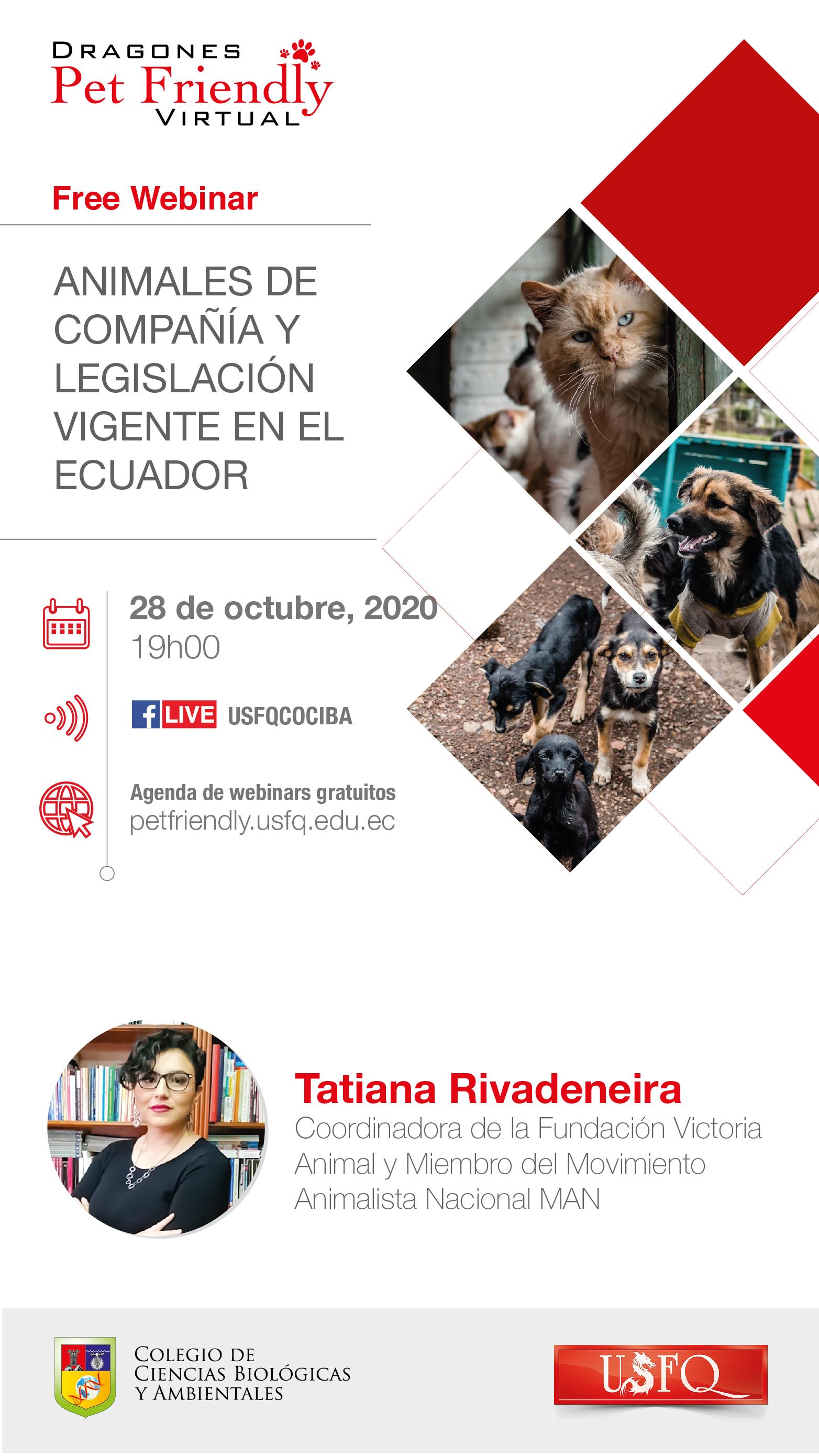 """Webinar """"Animales de compañía y legislación vigente en el Ecuador"""""""